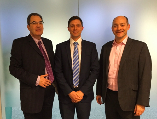 Martyn Howard, Carl Malcolm and Andrew Smith at the mentoring scheme launch dinner