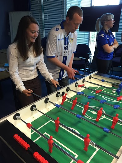 The SFB team battle it out at table football